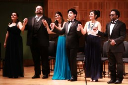 Anna Rajah (Soprano), William Davenport (Tenor), Fatma Said (Soprano), Sehoon Moon (Tenor), Adriana Gonzalez (Soprano) and Will Liverman (Baritone) – 2016 Final Veronica Dunne International Singing Competition (VDISC) in Dublin, Ireland – Photo by Frances Marshall